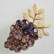 Beautiful Vintage Hobe` Grape Cluster Brooch