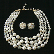 Four Strand Simulated Baroque Pearl and AB Glass Beaded Necklace with Clip Earrings