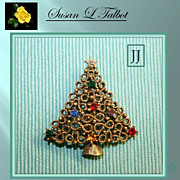 SALE Colorful Vintage JJ Christmas Tree Brooch