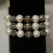 Vintage Judy Lee Three Strand Simulated Pearl, Crystal, and Rhinestone Bracelet