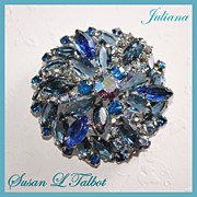 Gorgeous Vintage Juliana Blue Rhinestone Brooch