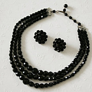 Lovely Necklace and Clip Earrings Signed Laguna - Black Faceted Beads
