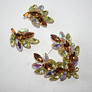 Stunning Vintage Demi Parure, Signed La Roco, Brooch and Earrings