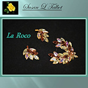 Stunning Vintage Demi Parure, Brooch & Earrings, by La Roco