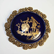 Beautiful Vintage Limoges Porcelain and Goldtone Brooch