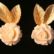 Vintage Polcini Clip Earrings - Carved Creamy Rose and Goldtone Leafs
