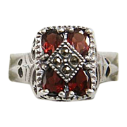 Beautiful Vintage Sterling, Garnet, and Marcasite Ring