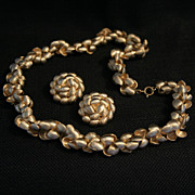 Fabulous Vintage Crown Trifari Brushed Goldtone Demi Parure-Necklace and Clip Earrings
