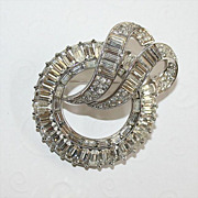 Gorgeous Vintage Crown Trifari Brooch in Clear Rhinestone and Silvertone