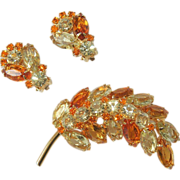 Sparkling Citrussy Rhinestone Demi-Parure, Brooch and Clip Earrings,