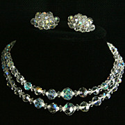Sparkling Aurora Borealis Faceted Crystal Necklace and Clip Earrings