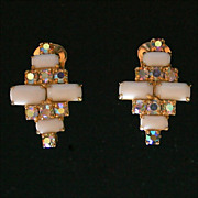 Vintage Clip Earrings-AB Clear and Milk Glass-Goldtone