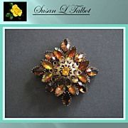 SALE Beautiful Vintage Brooch with Multi Amber and Two-Tone Amber Navette Rhinestones