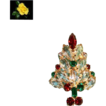 Vintage Rhinestone & Goldtone Christmas Tree Brooch