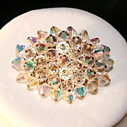 Sparkling Vintage AB Clear Beaded Brooch