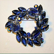 Gorgeous Vintage Rhinestone Brooch with Art Glass and AB Blue Stones-Unsigned