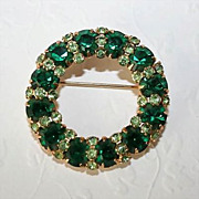 Vintage Brooch -  Green Rhinestone with Goldtone
