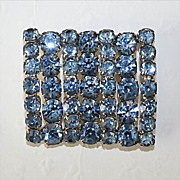 Vintage Prong-Set Blue Rhinestone Brooch**Beautiful!