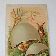 Vintage Easter Postcard - Bunny, New Born Chick - ASB