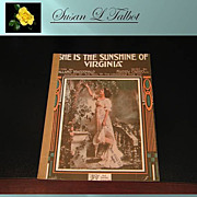 Vintage Sheet Music &quot;She Is The Sunshine Of Virginia&quot;, 1916