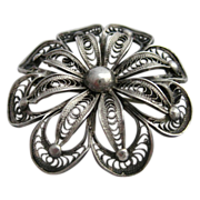 Silver Filigree Flower Pin Brooch