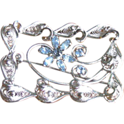SALE Vintage 1950's Am Lee Sterling Silver and Blue Rhinestone Filigree Brooch
