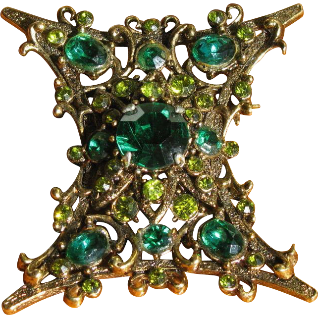 Vintage Hollycraft Green Rhinestone Brooch