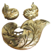 Vintage Sarah Coventry Leafy Brushed Goldtone Brooch & Earrings Set