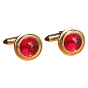 Vintage Krementz Red Lucite and Goldtone Cufflinks