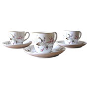 Vintage Hand Painted Porcelain Demitasse Cups - Set of 3