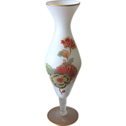 Vintage Norleans White Satin Glass Floral Bud Vase