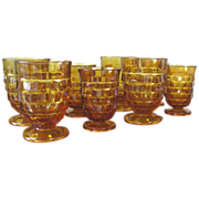 Vintage Amber Cubist Whitehall Pattern by Indiana Glass Co. - Set of 8