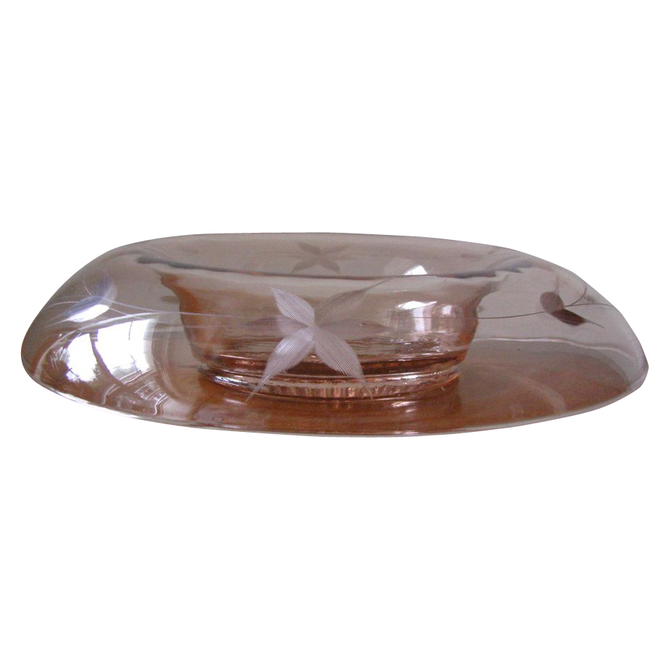Vintage 1930's Etched Pink Floral Depression Glass Console Bowl