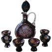 Vintage Cut to Clear Aubergine Crystal Decanter Set Germany