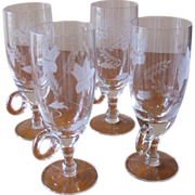 Vintage Crystal Cordial Glasses Etched with Handle - Set of 4
