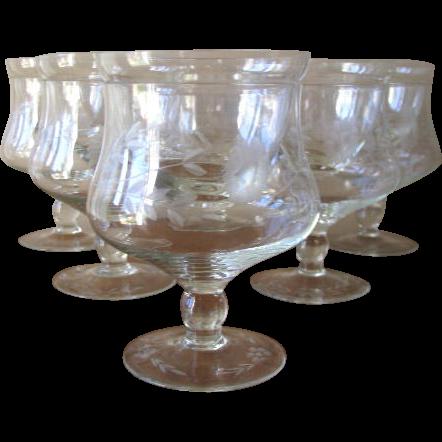 mid century etched crystal shrimp cocktail glasses or. Black Bedroom Furniture Sets. Home Design Ideas