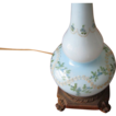 Vintage Pale Blue Floral Hand Blown Glass Table Lamp