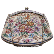 SALE Vintage 1930's Floral Petit Point Needlepoint Purse