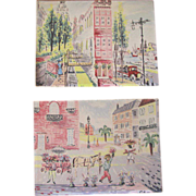 Vintage 1950's Pen and Ink Watercolor Prints - Set of 2