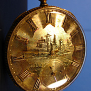 English Pocket Watch John Harrison Liverpool 14K Gold Scenic Engraving