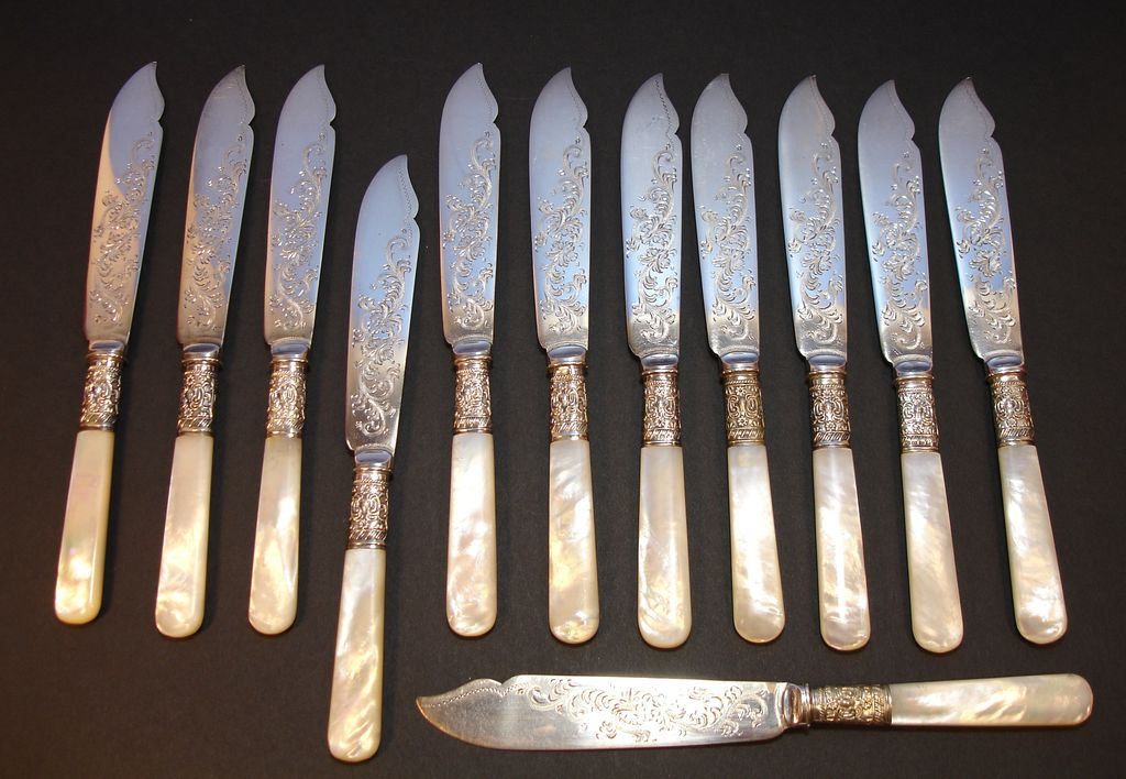 English Pearl Handled Fish Knife Set | EPNS | Sheffield