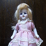 REDUCED Precious All Bisque Blond German Doll in Easter Egg