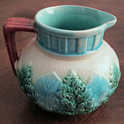 Antique Fern And Leaf Majolica Pitcher, Circa 1880