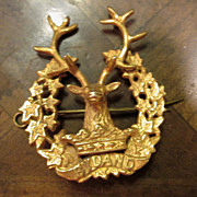 Bydand Scottish Gordon Highlanders Gold Tone Cap Badge, Circa 1914