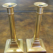 A Pair Of Antique Brass Federal Style Candlesticks, Circa 1860