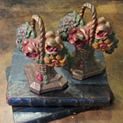 Pair Of Vintage Cast Iron Flower Basket Bookends, Circa 1920