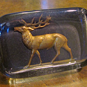 Vintage Glass Paperweight With Metal Stag