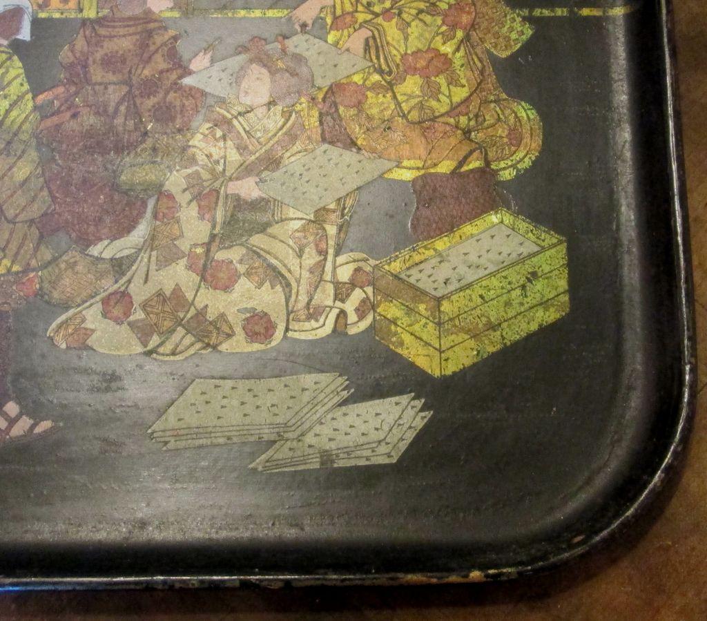 antique papier mache oriental tray circa 1900 from ewantiques on ruby lane. Black Bedroom Furniture Sets. Home Design Ideas