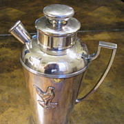 Vintage Silver Plate Cocktail Shaker With Rooster Design