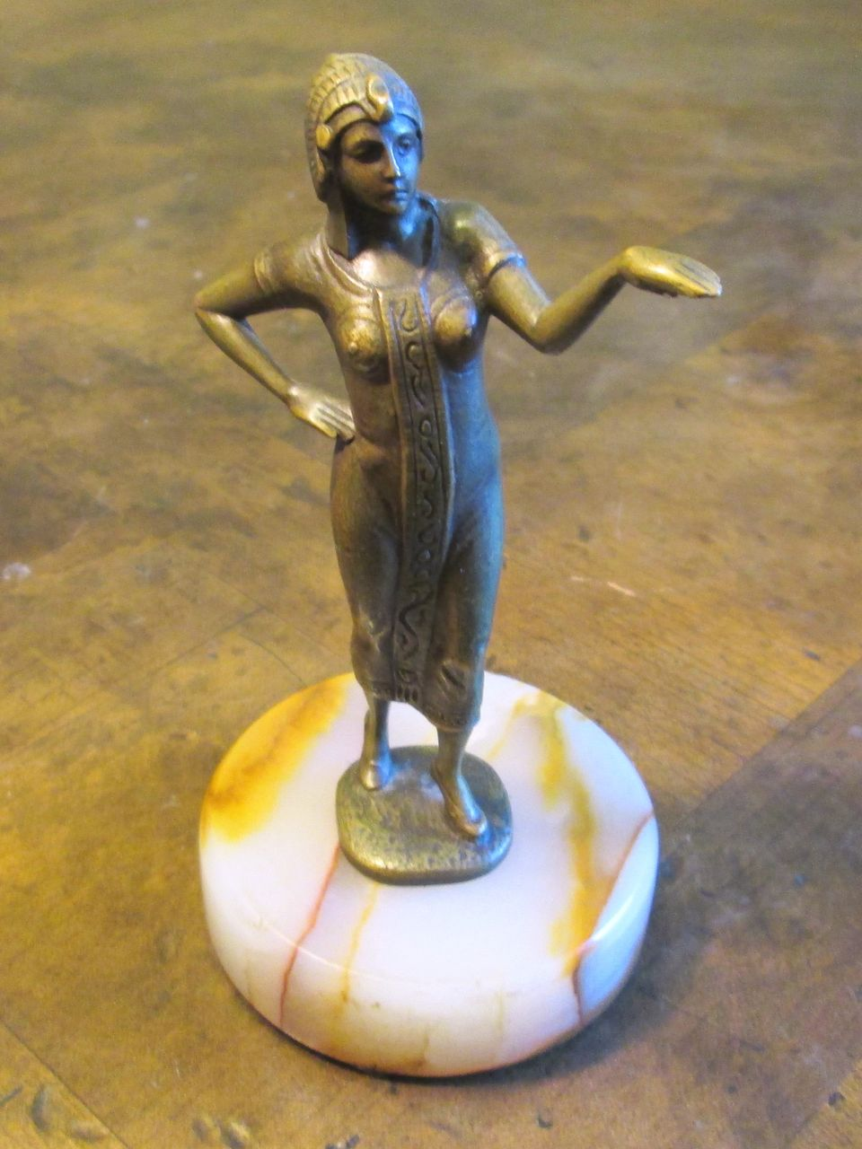 Signed German Bronze Egyptian Revival Female Figure, Circa 1920